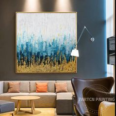 Abstract acrylic gold leaf hand paintings canvas original wall art blue painting large texture paintings for home decor cuadros abstractos Abstract Tree Painting, Blue Painting, Large Painting, Texture Painting, Acrylic Painting Canvas, Blue Abstract, Acrylic Art, Canvas Pictures, Art Pictures