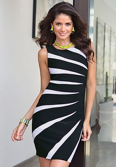 Body Con Dress (Cato Fashions) I have this dress, and it looks damn awesome on (even if you are not a model). Stripes Fashion, Love Fashion, Womens Fashion, Dress Outfits, Cute Outfits, Fashion Outfits, Dress Skirt, Bodycon Dress, Office Looks
