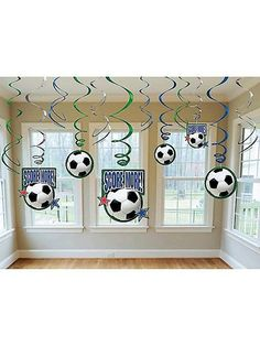 Check out Soccer Hanging Swirl Decorations (Each) - Party and Birthday supplies at Wholesale prices from Wholesale Party Supplies Soccer Birthday Parties, Football Birthday, Soccer Party, Birthday Bash, Soccer Decor, Soccer Theme, Soccer Banquet, Soccer Centerpieces, Soccer Baby Showers