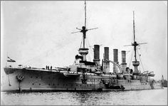 German armoured cruiser SMS Roon, probably during US visit in 1907.