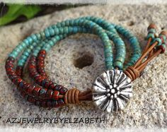 Beaded Wrap Bracelet/ Picasso Seed Bead Leather Wrap Bracelet/ Seed Bead Bracelet/ Beaded Bracelet/  Boho bracelet/ Boho Wrap Bracelet.