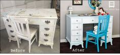 before and after vintage desk vanity for a little girl, bedroom ideas, diy, home decor, how to, painted furniture