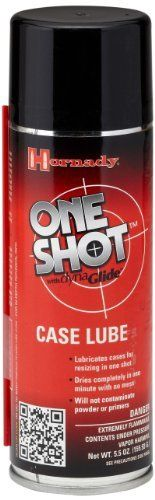 Hornady One Shot Spray Case Lube with DynaGlide Plus (7fl Oz Aerosol) by Hornady. Save 4 Off!. $10.28. One Shot Case Lube with DynaGlide Plus technology is a micro-penetrating high pressure dry film.  It contains no petroleum, Teflon, or other synthetic silicone so it WILL NOT contaminate powder or primers
