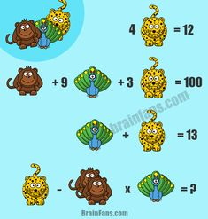 Brain teaser - Number And Math Puzzle - Great Math Puzzle with three animals - Can you solve this math puzzle with three variables (animals)? Leopard, monkey and peacock look forward to your answer. Please share and comment below. Riddles Logic, Logic Math, Logic Puzzles, Picture Logic, Logic Problems, Animal Puzzle, Puzzles For Kids, Brain Teasers, Variables
