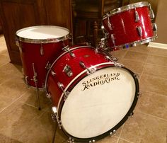 1955 Slingerland Radio King. Chrome lugs. Red Glitter Glass. 22, 13, 16. Awesome vintage tone. Swing, baby!