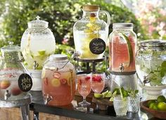 18 Unique & Creative Wedding Drink Bar Ideas for Outdoor Wedding Summer Wedding Ideas for your Wedding at The Orchard at Chesfield Mason Jar Drink Dispenser, Mason Jar Drinks, Bar Drinks, Drink Bar, Beverage Dispenser, Drink Stand, Beverage Table, Alcoholic Drinks, Fancy Drinks