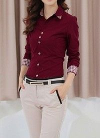 Wish | Women Office Lady Career Formal Long Sleeve Revit Studded Collar Button Up Blouse Shirt Top