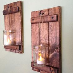 Rustic Wall Decor Wooden Candle Holder Rustic Mason by CoveDecor