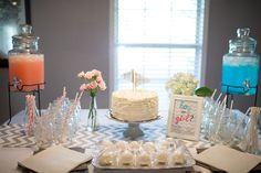 Gender Reveal Party - which will it be? beve paper straws help reveal! Mason jars, pink and blue, cake pops, chevrons - how fun!