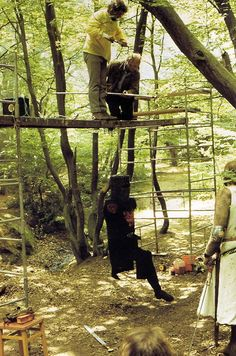 "The Black Knight in ""Monty Python and the Holy Grail"" was a big marionette.     In this behind-the-scenes picture of the Black Knight scene in The Holy Grail, we see that this fearsome warrior was naught but a dangling puppet!"