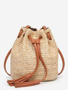 INS Hot Sell Women Straw Fashion Solid Color High Capacity Weave Tassels  Shoulder Bucket Bag x  dropship 1e0ad73e6b014
