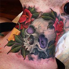Znalezione obrazy dla zapytania skull rose tattoo