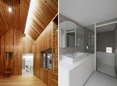 y+M design office hides backstage house behind large timber facade