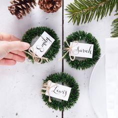 Ginger Ray 4 Mini Wreath Christmas Table Place Card Holders - White Place Cards | Home, Furniture & DIY, Celebrations & Occasions, Christmas Decorations & Trees | eBay!