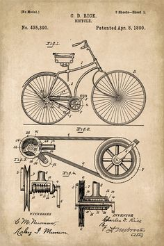 Bicycle Invention Patent Art Poster Print - Keep Calm Collection