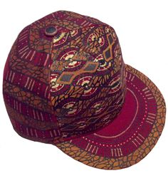 aabfcc90841 African Print Snapback - Maroon Custom Hat - Millinery - Baseball Cap -  Bespoke Headpiece - Folklore - Kuchi - Fez - Indian Art - Bohemian