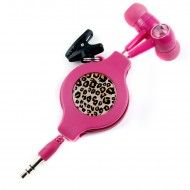 chicBuds Fauvette Retractable Earphones Pink Leopard
