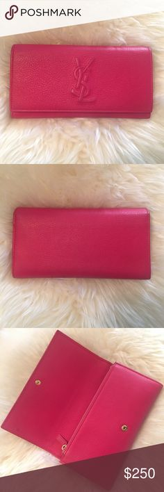 "YSL Tri Fold Fuchsia Wallet Authentic $220 shipped on ♏️ercari. Pre-owned by me. It is a little bit dirty, but could be cleaned, I'm just too lazy to clean it. Measurements: 8""x 4"". NO trades. Reasonable offers only. Thanks. Yves Saint Laurent Bags Wallets"