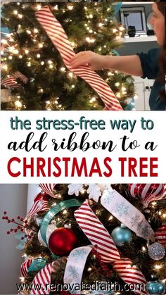 EASIEST Way to Add Ribbon to a Christmas Tree (Simple Ribbon Hack)