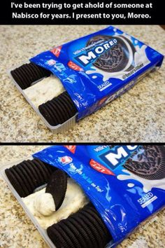 A new way for Oreos moreo Think Food, Love Food, Fun Baking Recipes, Dessert Recipes, Oreo Flavors, Sleepover Food, Delicious Desserts, Yummy Food, Weird Food