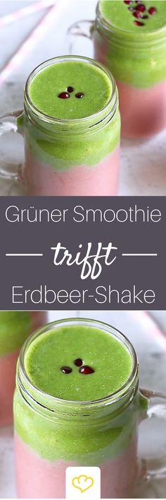 Grüner Smoothie trifft Erdbeershake - lecker und gesund!