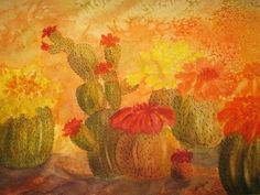 Cactus Garden by Ellen Levinson Cactus blossoms explode in beautiful golds,reds and oranges against a softly mottled background. Prints and cards available from my website           ellyn-levinson.artistwebsites.com