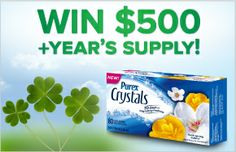 Enter to WIN $500 or 1 of 50 boxes of Purex Crystals Dryer Sheets!