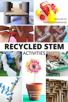 Cool recycling activities are all around! All kids can have access to STEM activities just by using the recycling bin. Recycling STEM ideas for kids. Recycling Activities For Kids, Recycling For Kids, Diy Recycling, Science Projects For Kids, Stem Projects, Science For Kids, Preschool Science, Recycling Projects For School, Summer Science