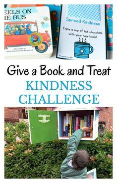 Give a book and treat kindness challenge is a great random act of kindness that kids can perform. Plus, it spreads a love of reading. There is even a free printable hot chocolate note to include.