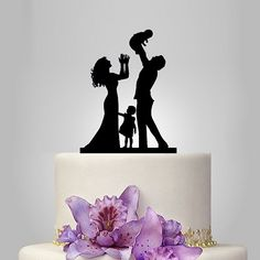 family wedding cake topper, acrylic toddle and girl