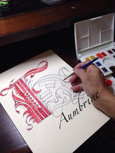 The letter H Studying Cadels Calligraphy