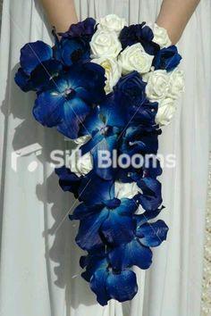 Brides bouquet navy blue n silver colors