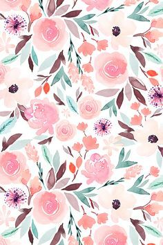 Indy Bloom Sage by indybloomdesign - Hand painted watercolor floral design on fabric, wallpaper, and gift wrap. Shades of pastel pink and green in a playful watercolor floor with a boho feel. #floral #wedding #watercolor #botanical #surfacedesign #design