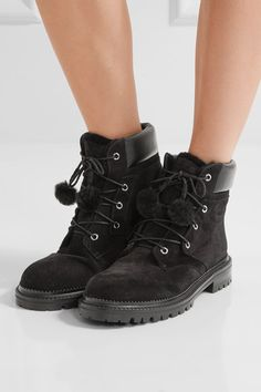 Rubber sole measures approximately 30mm/ 1 inch Black suede, leather and shearling Lace-up front Made in Italy
