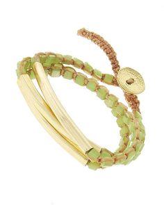 Gold Tone / Green Glass / Woven Lt.brown Cord / Lead&nickel Compliant / Wrap / Bracelet