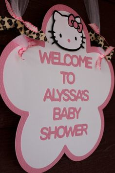 HELLO KITTY Welcome Door Sign in Light Pink and Leopard Print by EKC. $12.00, via Etsy.