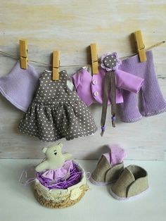 Fabric doll-clothes-art doll outfit-lilac cloth by JuliettaDoll