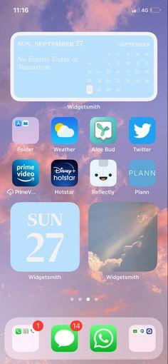 Ios, Homescreen, Blue Clouds, Random Stuff, Calendar, Iphone, Wallpaper, Random Things, Wallpapers