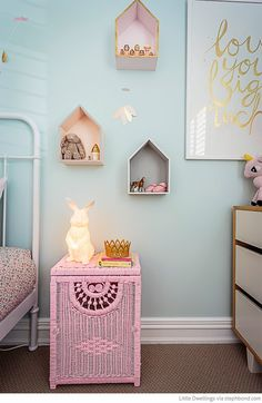This tiny room is chock full of whimsy! {Bondville: Georgia's mint, pink and gold bedroom}