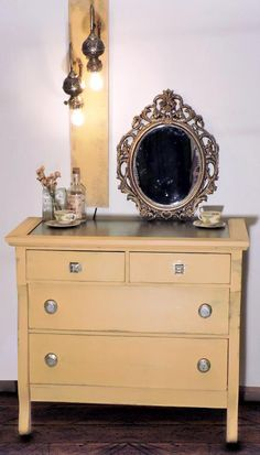 General Finishes Apricot Chalk Style Paint Dresser | Created by Niss & That ~ http://nissandthat.com/
