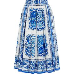 Printed cotton-poplin midi skirt Dolce Gabbana ❤ liked on Polyvore featuring skirts, midi skirt, blue midi skirt, dolce gabbana skirt, calf length skirts and blue skirt