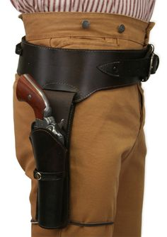 Western Gun Belt and Holster - RH Draw - Plain Brown Leather (.44/.45 cal)