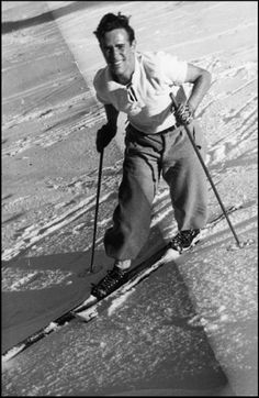 Swiss photographer Werner Bischof, of Magnum, skiing in Obersaxen, eastern Switzerland, circa 1933.