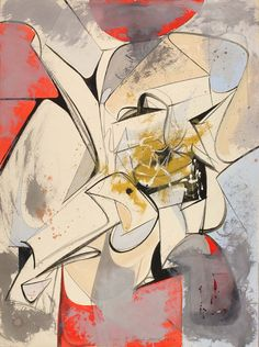 Vincent Pepi (b.1926), #504 Abstraction (1950), gouache and watercolour on paper, 37.8 x 50.6 cm. Collection of Smithsonian American Art Museum, Washington, DC, USA. Via...