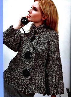 A-line Jacket pattern by Berta Karapetyan Coats For Women, Sweaters For Women, Clothes For Women, Knit Jacket, Knit Cardigan, Crochet Poncho, Line Jackets, Jacket Pattern, Knit Fashion
