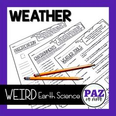 DISTANCE LEARNING Weather Activities - Weird... by Paz in Fifth | Teachers Pay Teachers Learning Weather, Weather Activities, Types Of Precipitation, Rain Shadow, Earth Science, Printable Worksheets, Student Learning, Teacher Pay Teachers