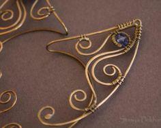Poignets d'oreille elfe, fil enveloppé les poignets de l'oreille, poignets oreille elfique, poignets oreille Wire, poignets bleus