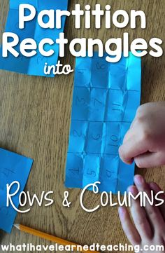 Partition Rectangles into Rows & Columns is a fun way to establish multiplication and area models with second graders.  These hands on activities are perfect to develop conceptual thinking. Teaching Multiplication is difficulty, but you can make it fun with hands-on math activities that are common core aligned.  Teaching Area | DIY Math Manipulatives