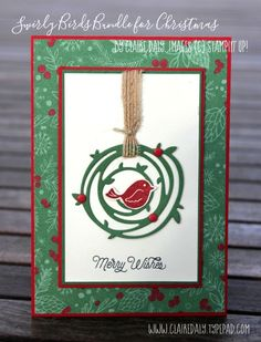 Swirly Bird Stampin Up 2016 Christmas Card (Stampin Up Australia: Claire Daly…