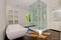 Cool bathroom remodel. Does your bathroom need a remodel & you live in North Texas, contact www.floorbarn.com